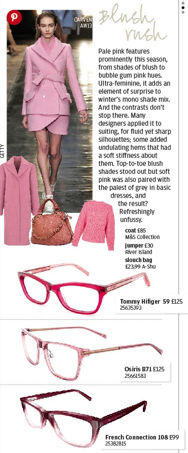 Blush rush - the very latest in pretty pink glasses from Specsavers.