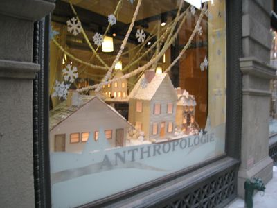Reminds me of vintage Christmas Putz houses.   Anthropologie window display 4