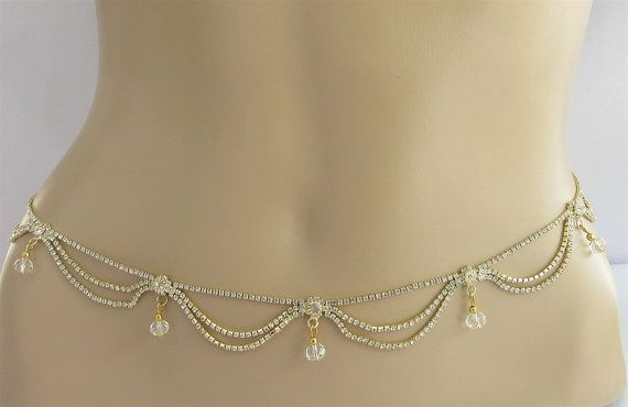 Gold Belly Chain/Crystal Couture Belt Waist Hip by Beauteshoppe