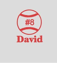 """Baseball with Name & Number Vinyl Decal Sticker 6"""" x 5"""
