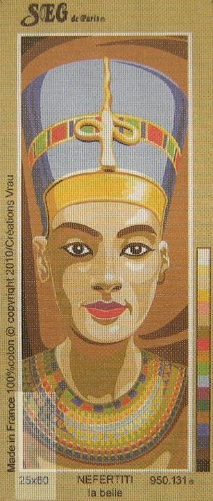 Nefertiti la Belle 1 by SEG on Victoria House Needlecraft. printed canvas. portraits, bust, textiles, cross stitch, crafts http://www.victoriahouseneedlecraft.com.au/blog/products-page/tapestry-and-needlepoint/nefertiti-la-belle-950-131/