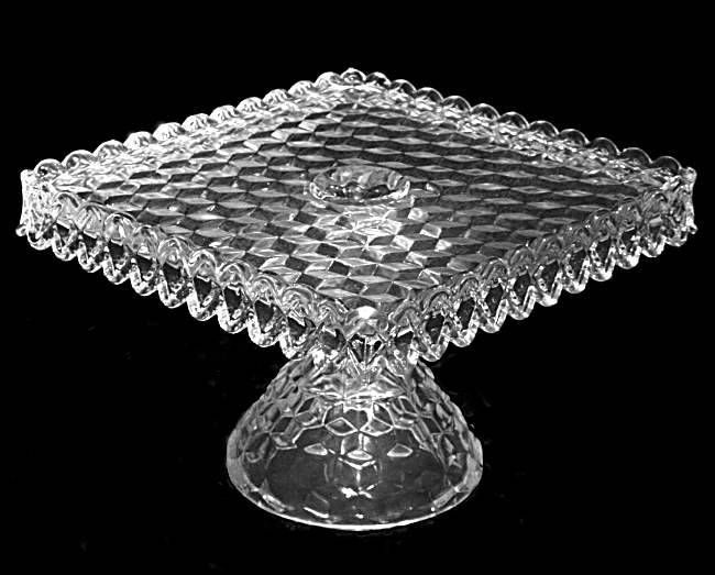 Fostoria American Square Cake Stand with Rum Well,  Grandmother Sophie Anderson