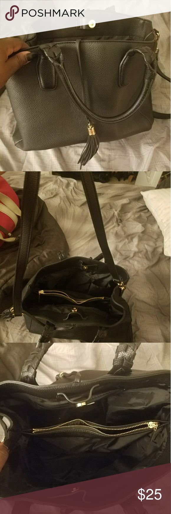 H&M black tassel purse H&M purse. With two sides and compartments for storing things. Comes with body strap. Only used for about a month. In great condition. Selling only. Price is negotiable:) H&M Bags