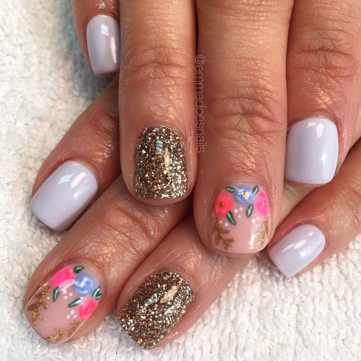 Nails gel nails mani manicure short nails cute nails pretty nails nail design nail art gel polish floral nails glitter nails lavender nails purple nails spring nails summer nails emmadoesnails