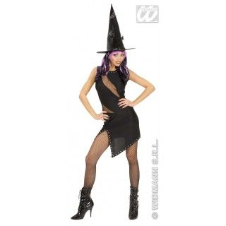 Zwarte Jurk Voor Heks Of Rocker Rock Witch Kostuum