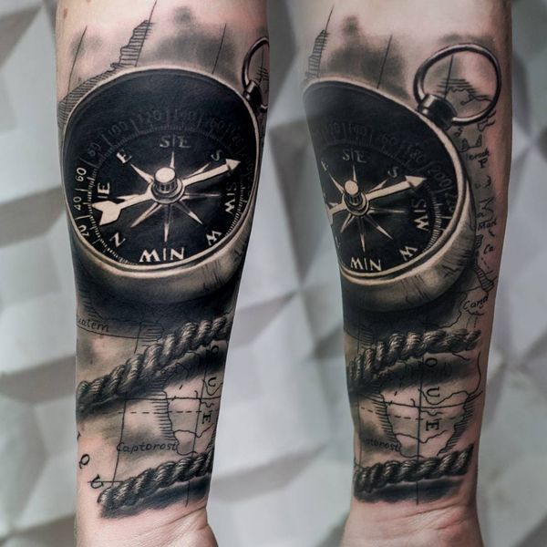 An Impressive Black And Grey 3d Compass Tattoo On Forearm Tattoos