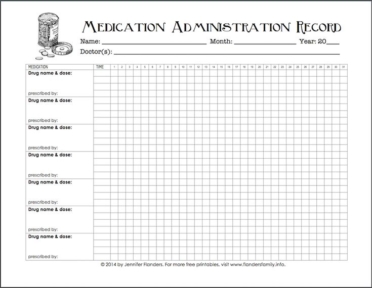 Keeping Track of Medications {Free Printable Chart