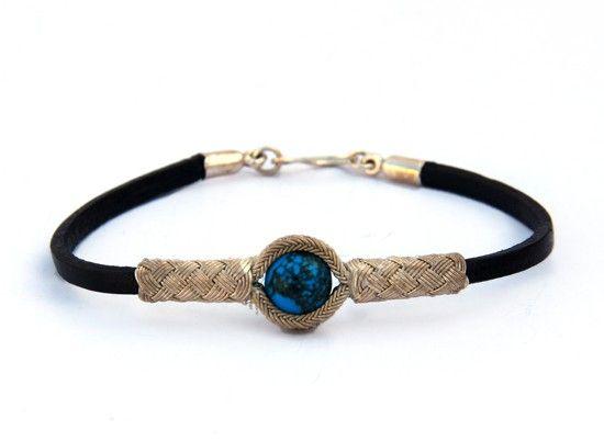 Kazaziye Silver Bracelet with Turquoise - Black Leather