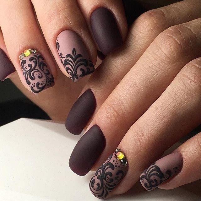 Beautiful nails 2017, Brown and beige nails, Brown matte nails, Evening nails, Graduation nails, Monogram nails, Nails ideas 2017, Nails with curls