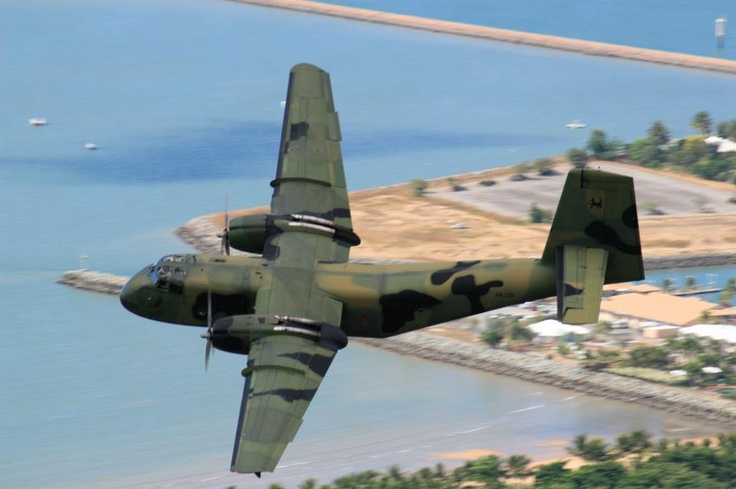 DHC-4 Caribou of 35 Squadron overflies Townsville in 2007.