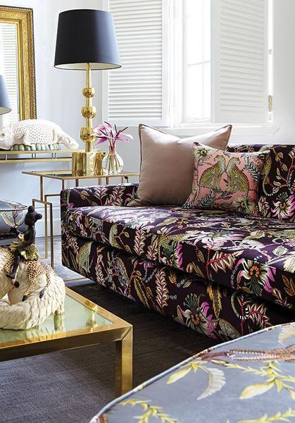 Ardmore Sofa covered in luxurious Monkey Bean Nightvelvet. Velvet. 80cm (h) x 220cm (w) x 95cm (d)