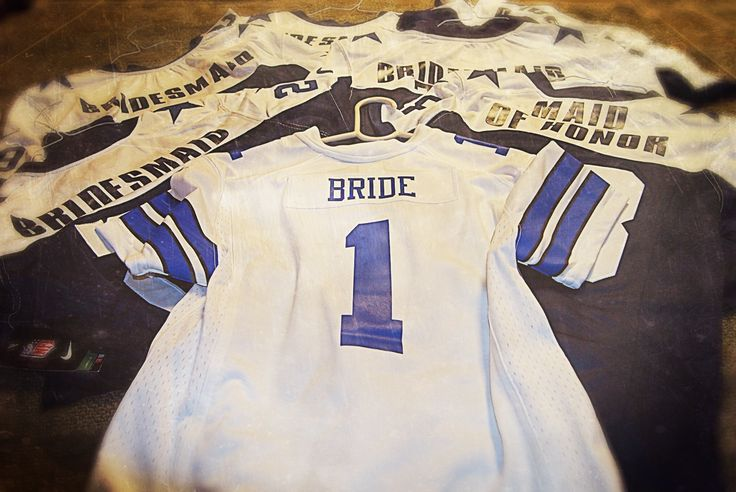 Sports Themed Wedding Shower. Dallas Cowboys Jerseys for the Bridal Party. The Bridesmaids had the throwback jerseys and the Bride the home jersey.