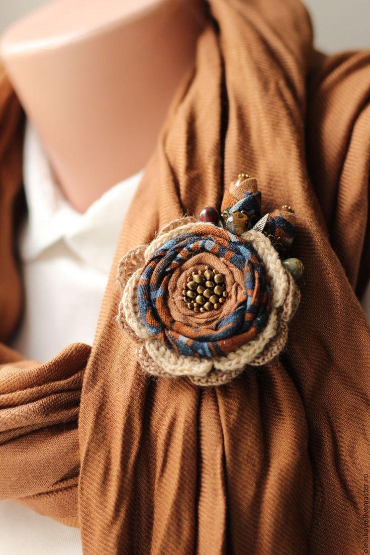 """Купить Брошь текстильная """"Пряная осень"""" - синий, коричневый, брошь осенняя, брошь текстильная"""