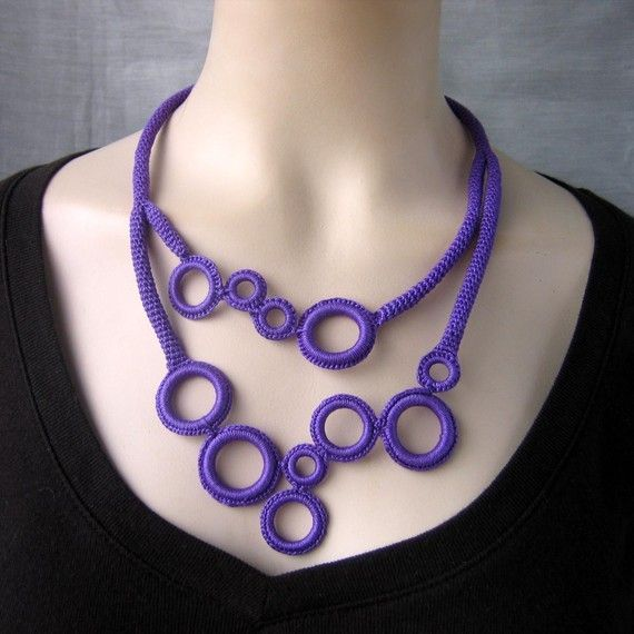 Purple ring-freeform crochet circle necklace by NingNingGong