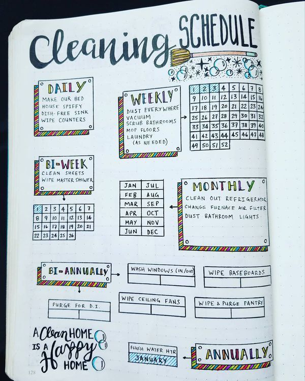 cleaning schedule bullet journal layout idea