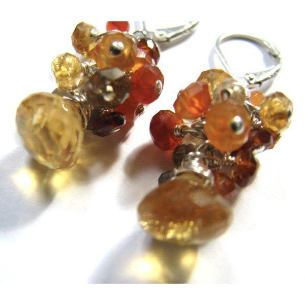 Golden Citrine Earrings, Orange Carnelian, Red Zircon, Brown Garnet,... ($46) ❤ liked on Polyvore featuring jewelry, earrings, zircon earrings, garnet jewelry, quartz earrings, carnelian earrings and red jewellery