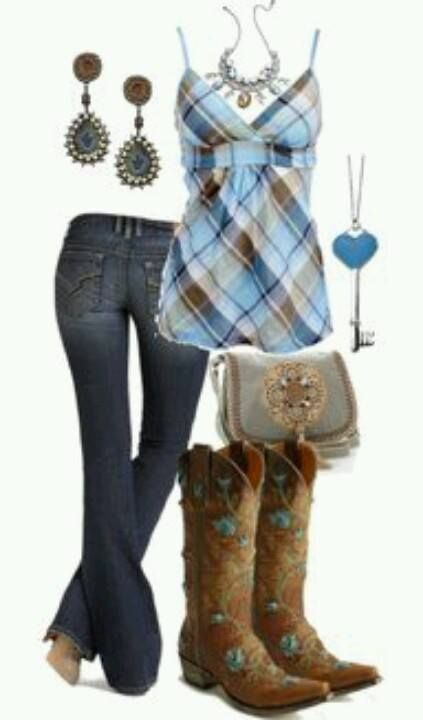 Cute plaid country outfit...just not find of the blue in the boots