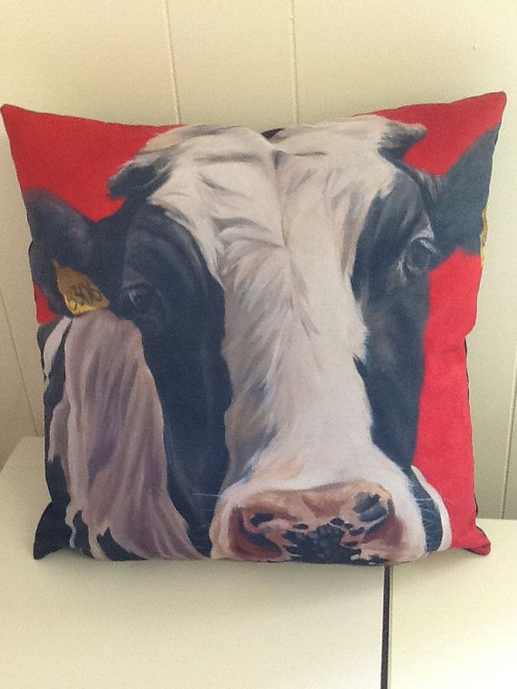 Cow cushion frisian cow image of an  oilpainting by by Thuline