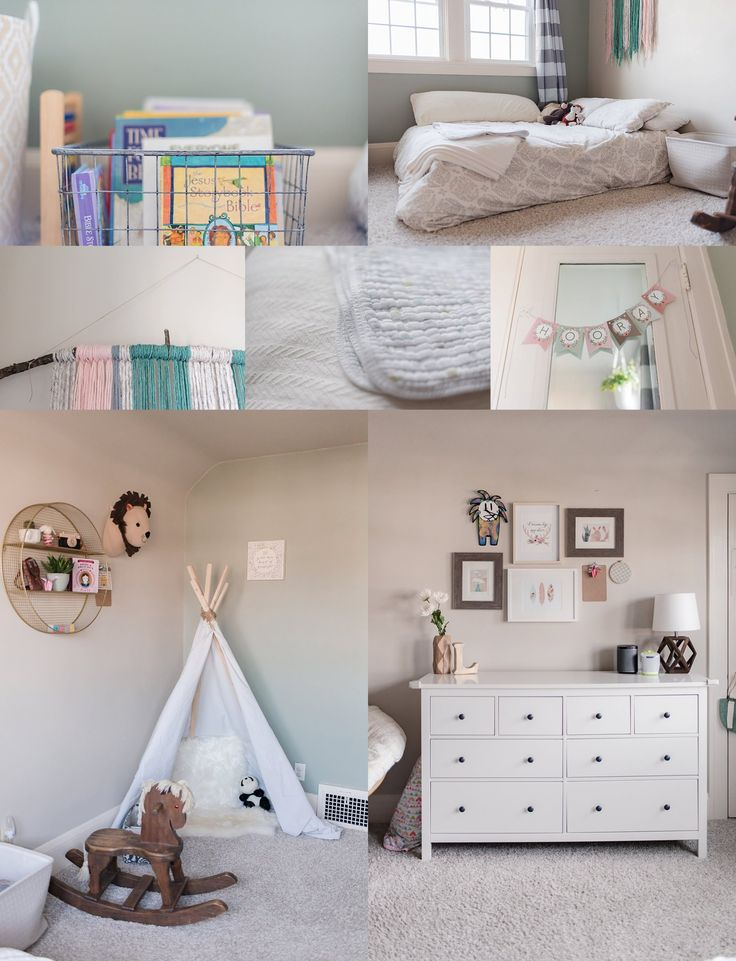 cleveland photographer ohio photography big girl room toddler bedroom interior design Montessori style DIY reuse recycle neutral simple functional fun bright airy details personal blog post book storage dresser gallery wall teepee