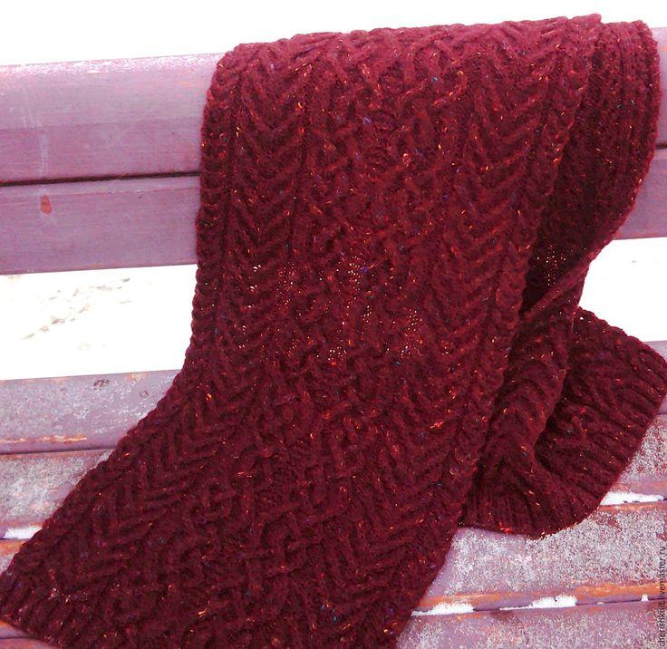 Купить Шарф вязаный шерстяной бордовый араны - бордовый, орнамент, шарф женский, шарф вязаный
