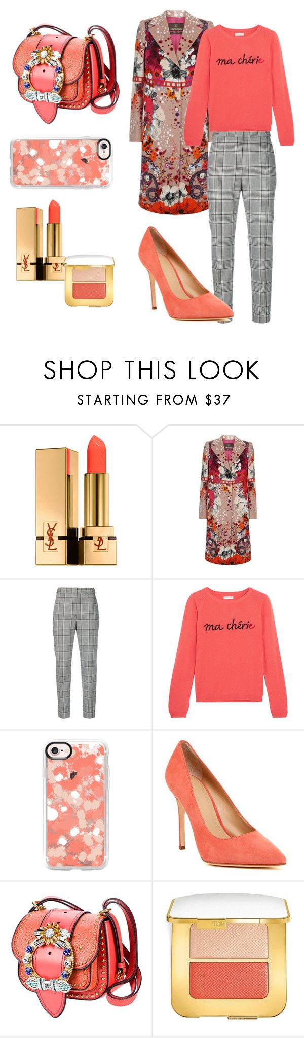 """""""Coral sweater"""" by chanelkrazy ❤ liked on Polyvore featuring Yves Saint Laurent, Roberto Cavalli, Alexander Wang, Chinti and Parker, Casetify, Pour La Victoire, Miu Miu and Tom Ford"""