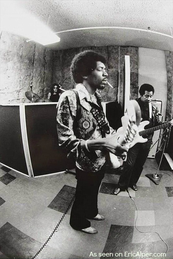 Jimi Hendrix with Mitch Mitchell and Billy Cox.