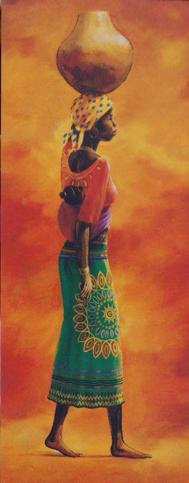 Africana con bebe