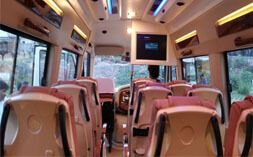 Luxury Tempo Traveller on rent have push back seat with extra comfort and safety. The monologue body structure provides total safety and car like ride quality. GPS (Global Positioning System) is tracking & monitoring the movements of our vehicle with attractive interior. We provide Well trained and experienced driver. Luxury Tempo Traveller will be neat, clean and well maintained with ice box, Led, AC, Mic System.