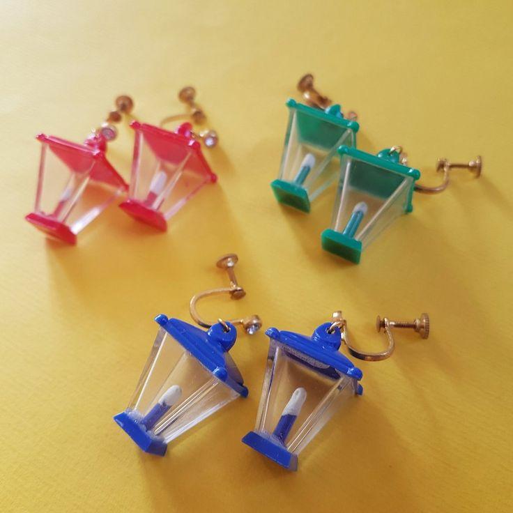 Vintage novelty lamp earrings