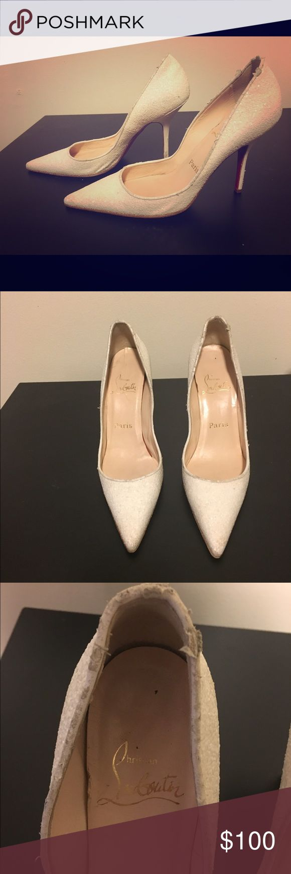 Christian Louboutin Pumps Authentic, well loved, Christian Louboutin pumps. White and sparkly! Size 37. Christian Louboutin Shoes Heels