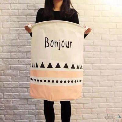 White, Pink and black triangle geometry pattern fabric laundry basket, Scandinavian style home decor, toy organizer, doll organizer