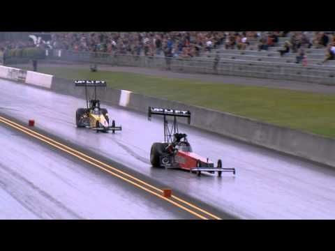 Larry Dixon wide Top Fuel spin during day one of the Santo's Cranes Super 3 Extreme Drag Race event