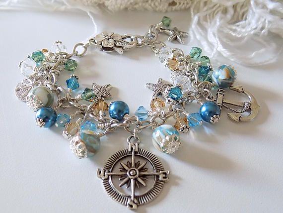 Nautical Charm Bracelet Blue  Bracelet Beach Bracelet Ocean Inspired Jewelry  Summer Jewelry Gift for Her