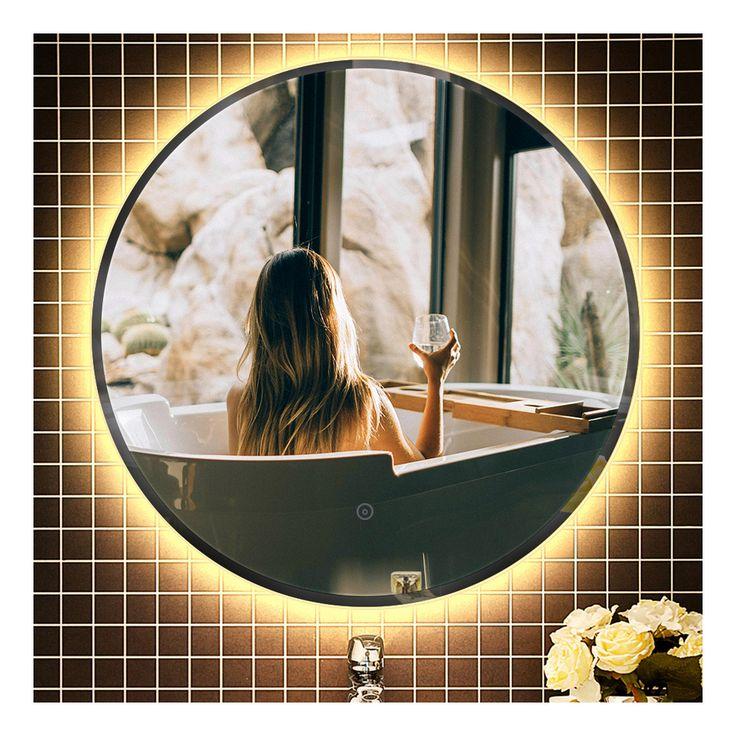 Miroir Lumineux Pour Salle De Bain A Led Avec Eclairage Tactile Anti Buee Blanc Chaud Round O 70 Cm Oobest In 2020 Mirror Bathroom