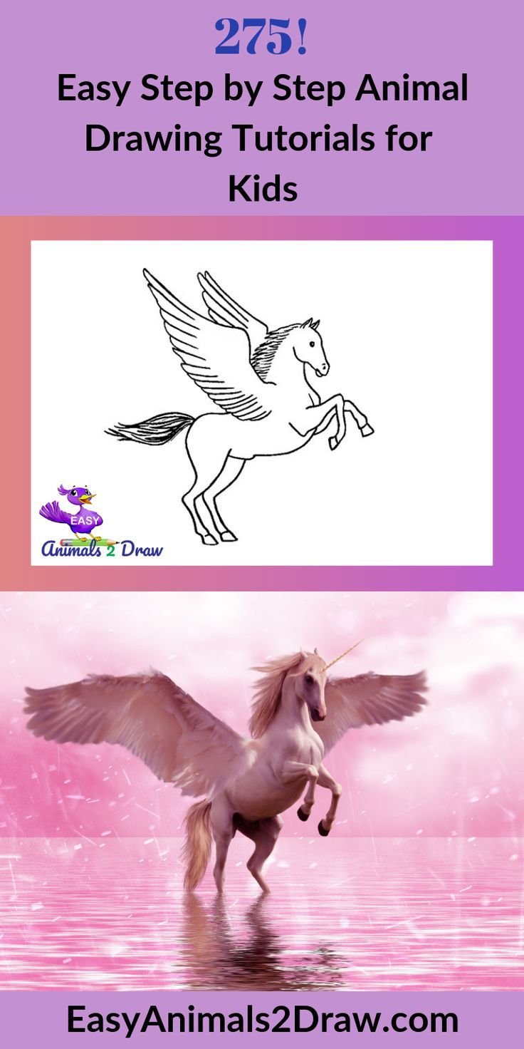 Learn How To Draw An Amazing Pegasus With This Easy And Inspirational Step By Step Drawing Tutorial For Kids Of All Ages Start By Dr In 2020 Easy Animals Drawing Tutorials For Kids