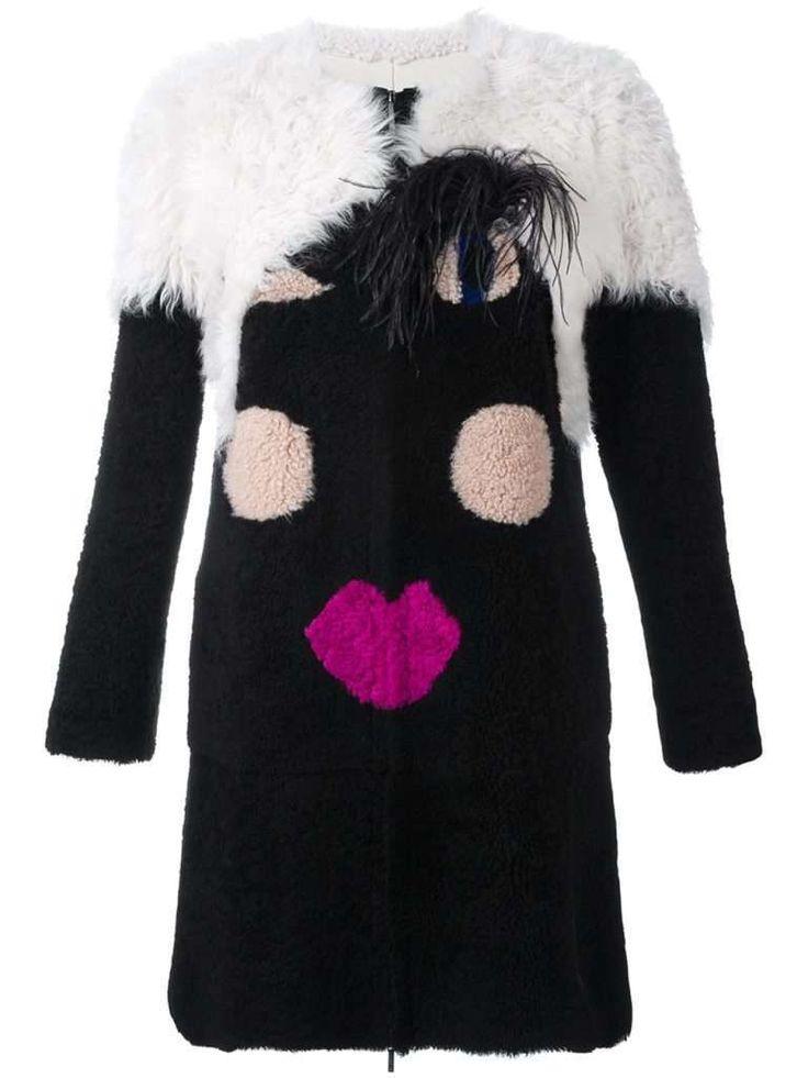 Cappotti in shearling, tendenza dell'inverno 2017   BLANCHA CAPPOTTO  Cappotto nero face in shearling