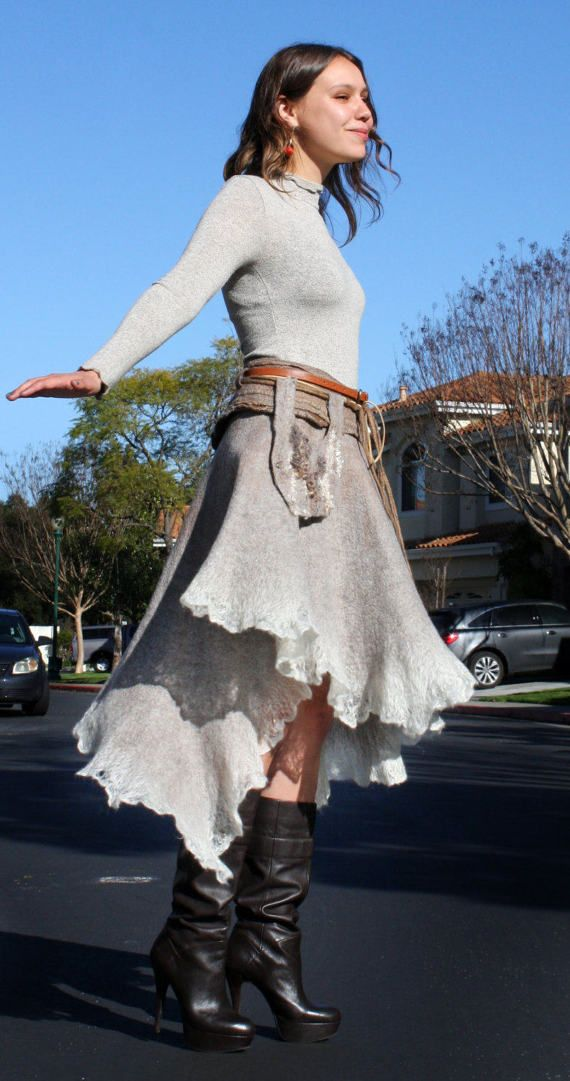 Beige gray felted skirt long wide asymmetrical lacy от GBDesign