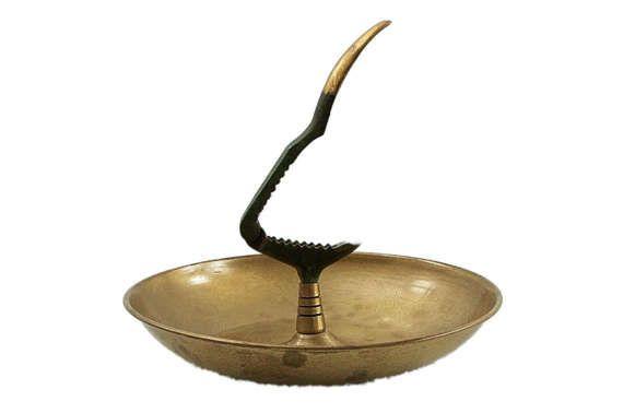 Mid Century Brass Nut Cracker & Brass Bowl by HazelHuezDesign