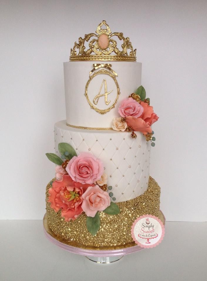 Edible Sequins, Beaded Embellishments,Sugar Crown Topper accented with Sugar Roses & Peony by Simply Sweet-cakes and cupcakes.