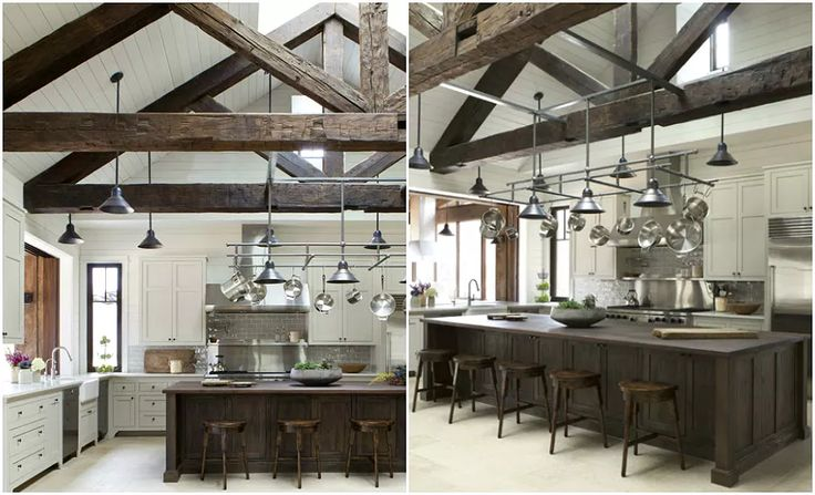 Массивная конструкция из потолочных балок на кухне