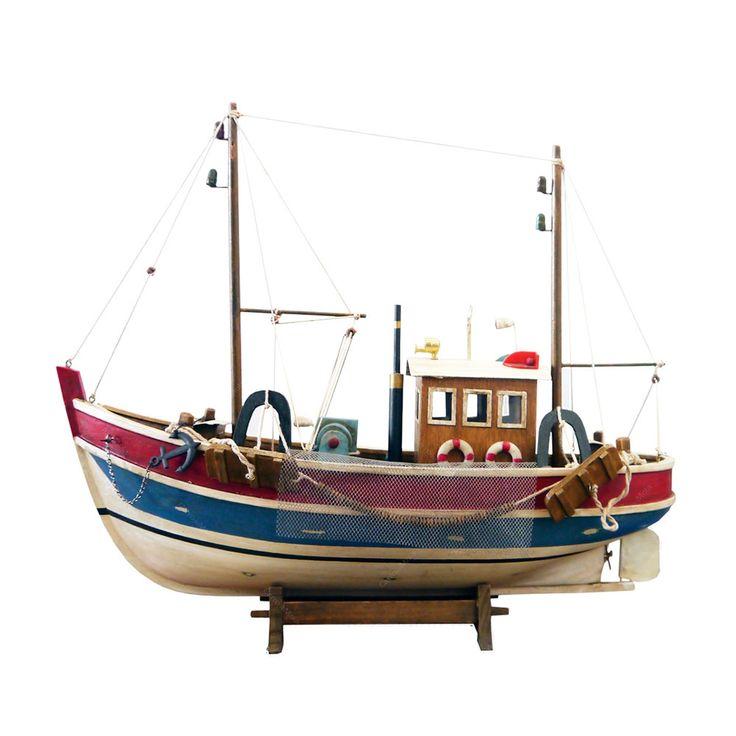 Miniatura Barco Pesqueiro Grande Azul, Branco, Vermelho em Madeira - 45x39 cm | Carro de Mola - Decorar faz bem.