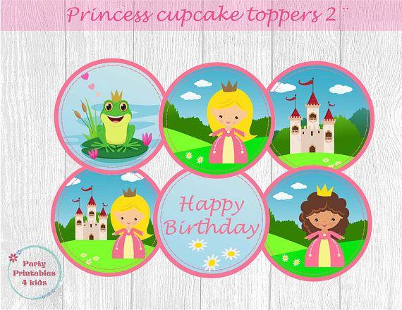 Princess Cupcake Toppers Princess Birthday Tags Princess
