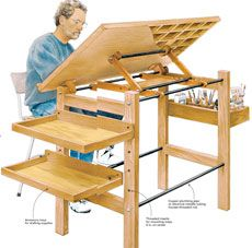 Drafting table fine woodworking