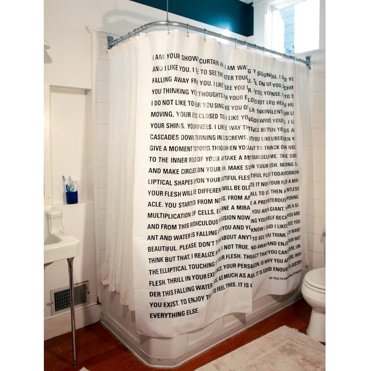 Shower curtain featuring a Dave Eggers monologue.