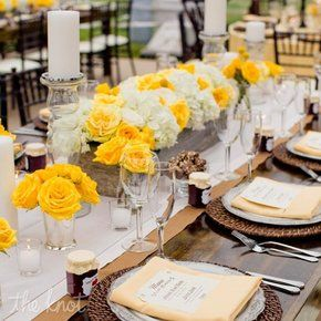 Yellow and gray wedding tablescape #inspiration roses and hydrangeas