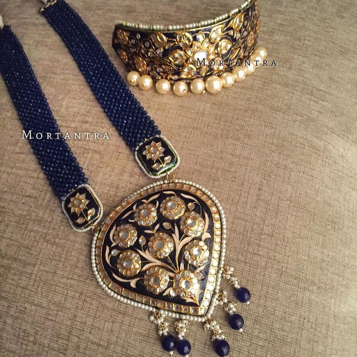 Chuck the basics .. Presenting a beautiful combination of meenakari choker and paan pendant in this so attractive navy blue and teal This was specially designed and crafted for Farah for her mehendi green outfit for her Mehendi Occassion! #loveformeenakari #mortantra #mortantrabride #mortantrajewellery #mortantrabridaljewellery