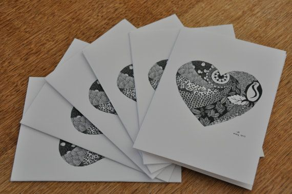 heart design cards - pack of six on Etsy, $10.00 AUD