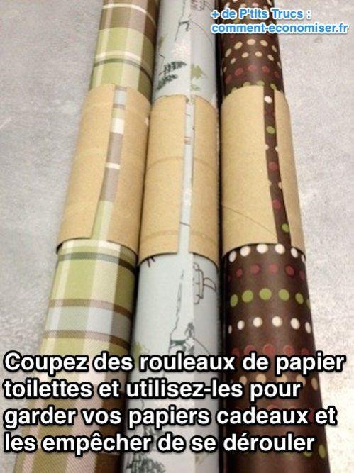 Des rouleaux de PQ pour maintenir les rouleaux de papier cadeaux