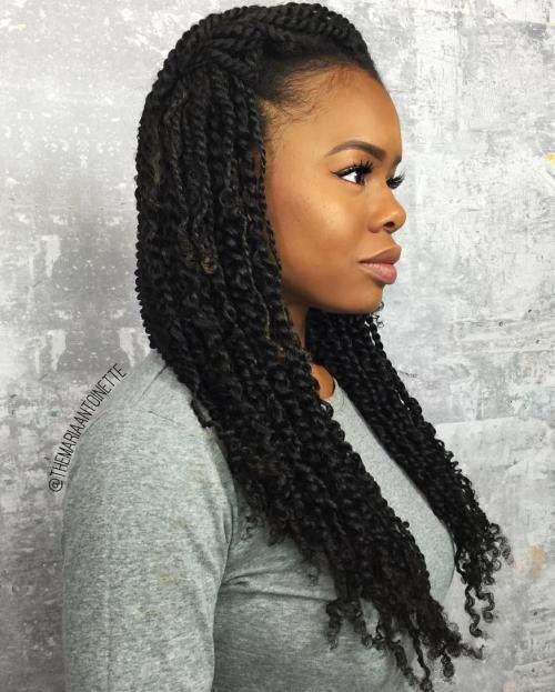 Simple Loose Hairstyle For Kinky Twists