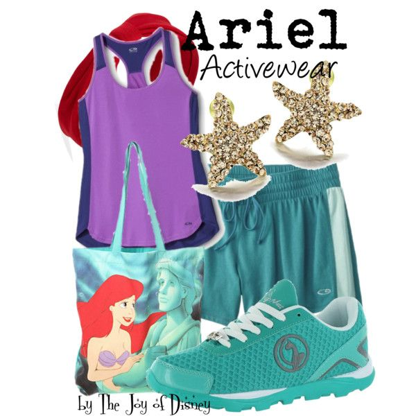 Ariel (Activewear) by thejoyofdisney on Polyvore featuring C9 by Champion, Disney, Forever 21 and Baby Phat